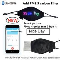 Luz luminosa máscara bluetooth programável máscara de incandescência com pm2.5 filtro aplicativo de telefone móvel editar padrão de natal