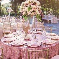 Tapete B · Y mantel de lentejuelas redondas 132 pulgadas-330cm Cubierta de oro rosa para fiesta de Navidad Decoración de la boda-9531