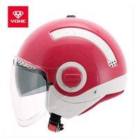 Motorcycle Helmets 2021 Fashion YOHE Men Women Double Lens Safety Half Face Motorbike Helmet Hat Cap Made Of ABS PC Visor Lens1