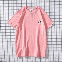 유럽과 미국 패션 위장 자수 작은 로고 남성과 여성 연인 캐주얼 바닥 짧은 소매 티셔츠 트렌드