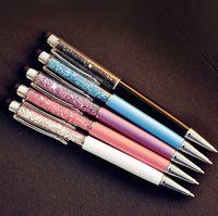 Diseño de moda Creativo Cristal Pluma Diamante Ballpoint Bolígrafos Papelería Ballpen Stylus Pen Touch Pen 10 Colores Black Black Relablo