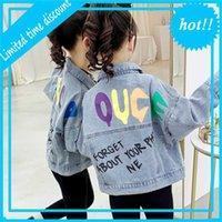 Куртка для девочек Осень 2020 Новый Средний университет Детский универсальный печатный джинсовый топ