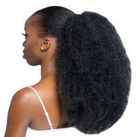 아프리카 kinky 곱슬 머리 3A 3B 3C 4A 4B 4C kinky 직선 포니 테일 클립 익스텐션에서 인간의 머리카락 Drawstring 흑인 여성 120g