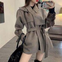 Женщины женские пальто 2021 Женщины Мода Элегантное Двустороннее шерстяное пальто с Sashes Slime Сливной осенью зима и куртки Manteau Femme ВИЧ