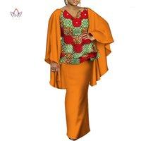 Африканские платья для женщин Bazin Riche Африканская одежда 2 шт. Устанавливает наборы DASHIKI Женские напечатаны рюшами Рукав Верх и юбка наборы WY34981
