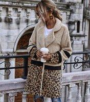 Bayan Kış Palto Kalın Sıcak Tasarımcı Leopar Kadın Giyim Yün Kazak Suni Fluffy Kürk Teddy Polar Rahat Ceket Uzun Mont