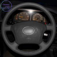 DIY Private Custom Car Car Lenkradabdeckung für Toyota Land Cruiser Prado 120 Lexus LS400 GX470 Hand Nähen Schwarz Leder Halter Dekoration