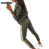 Xuanshow Trainingsanzug Frauen Mode Beiläufige Pailletten Sportswear Anzug Strickjacke Langer Pant Zweiteilige Set Outfits Chandal Mujer T201102