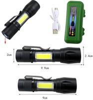LED El Feneri Q5 Taktik El Feneri Yan COB Ile Işık Güçlü Kamp Torch Lambası USB Şarj Edilebilir El Feneri Ile 18650 Pil
