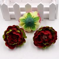 50pcs / 가방 고품질 실크 인공 가짜 꽃 장식 모란 꽃 머리 시뮬레이션 DIY 웨딩 가족 파티 장식 YYS3370
