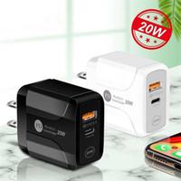 Typ-C 20W PD und QC 3.0 Fast Wall Telefon Ladegerät Schnellladung Mobiltelefon Charger für iPhone 11 12 xs