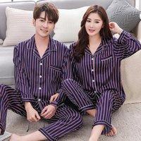 Casal pijama conjuntos de seda cetim listrado sleepwear dele-e-dela casa terno pijama para amante homem mulher amantes 'roupas adultos