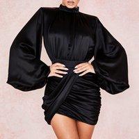 Vieunsta Женщины O-образным вырезом Полный рукав плиссированные мини-платья сексуальные шелковистые тонкие клубные ночные вечеринки платье элегантное осень bodycon платье vestidos y0118