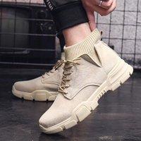 Tamaño 46 Plataforma de encaje Hombre Botas de tobillo Herramientas de alta calidad Zapatos para hombres Moda Calcetines antideslizantes Botas de boca Homme1