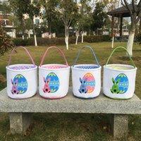 Canasta de Pascua Nuevo Conejo Huevo Impreso Cubos de lona de algodón Niños Huevo de Pascua Bolsa de regalo Juguetes Cestas de caza Decoración para el hogar