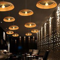 자연 대나무 펜던트 램프 나무 서스펜션 라이트 카페 비스트로 호텔 핫팟 레스토랑 사무실 식사 룸 화장실