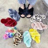 Large Size Girl Plush Fluffy Slippers Kids Adult Women Cross Hair Slippers Indoor Non-slip Children Parent-Child Home Bath HH9-3613