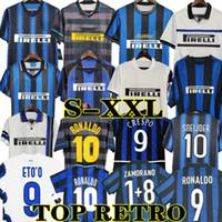 2009 10 Finais Inter de Milão Ronaldo Zanetti Retro Futebol Jerseys Futebol 97 98 99 Djorkaeff Baggio Adriano Eto'o 11 02 03 Inter Milan Milito Sneijder