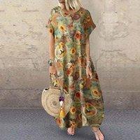 Vestidos ocasionales Zanzea Vintage Vintage Floral impreso Sundress Mujeres de manga corta Vestido Bohemio Algodón Lino Vestido Kaftan Plus Tamaño 71