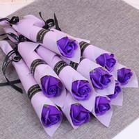 100 PC 단일 줄기 인공 장미 낭만적 발렌타인 데이 결혼 생일 파티 비누 장미 꽃 레드 핑크 블루