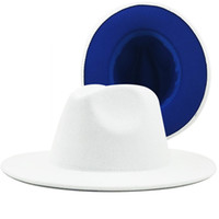 2020 femmes hommes blancs avec fond bleu patchwork feutre de laine jazz fédora chapeaux mode large bord panama blague chapeau de mariage