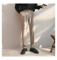 Ternos masculinos Blazers 2021 Seda Formal Business Calças Casuais Calças Estilo Ocidental Vertical Terno Slim Preto / Cinza / Bege Color Social