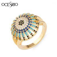 Ocesrio Gold Türkisch Evil Eye Ring für Männer Hohe Qualität Kupfer Einzigartige Männer Ring Gold Vintage Schmuck Anillo Hombre Rig-H161