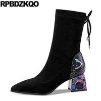 Çizmeler Siyah Lace Up Ayak Bileği Artı Boyutu Rhinestone Tıknaz Büyük Sivri Burun Elmas Yüksek Topuk Sandalet Ayakkabı Kadın Moda 101