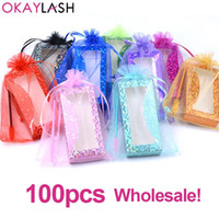 OKAYLASH 50 100pcs 3 in 1 bulk eyelash packaging bag shining glitter color luxury lash pacaging box with eyelash brushes