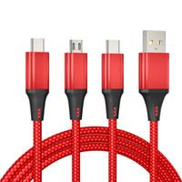 كابلات الهاتف 2.4a سريع 3 في 1 نايلون مضفر شحن كابل مايكرو USB Type-C لسامسونج شاحن الروبوت سلك سريع 1.2 متر
