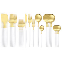 30Pcs White Gold Cutlery Knife Dessert Fork Spoon Dinner Tab...