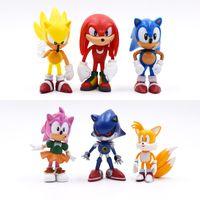 6 unids / lote Sonic 6cm juego Sonic Toys Figura de acción PVP Anime Sonic Toy Regalo para niños Envío gratis LJ200928