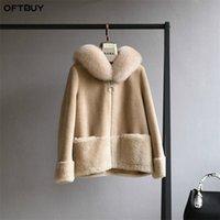 Oftbuy Real Fur Paird Зимняя куртка Женщины натуральные лисы меховые воротник капюшон 100% шерсть содержание тканые верхняя одежда Teddy Polar Flece Plush 201212