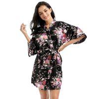 Kadın Kravat Bel İpek Chemises Pijama Gecelik Yumuşak Çiçek Kısa Gece Robe Banyo Bornoz Giysileri Will ve Sandy Yeni