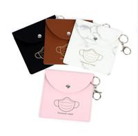 Saco de máscara de rosto PU PU suporte de máscara à prova d'água carteira chaveiro chaveiro máscaras protetoras bolsas relógios chaveiros pingentes facemask bolsa e122405