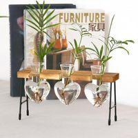 Desktop coração forma vidro vaso hidropônico plantador bonsai flor potenciômetro pendurado vasos com bandeja de madeira para decoração de casa homedecor1