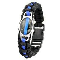 Charme Armbänder zurück das Blaue Ich liebe meine stellvertretende dünne Linie 25 * 18mm Glas Cabochon Outdoor Survival Paracord Männer Frauen Geschenk
