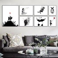 Dipinti Banksy Black Bianco Bianco Moderno Abstract Hipster Art Stampa Poster Picture Picture Picture Soggiorno Tela Pittura No Telaio Decorazioni Home Decor1