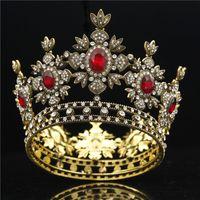 Barok Gelin Siyah Elbise Tiara Taç Altın Kraliyet Kral Diadem Gelin Düğün Saç Takı Erkek Tiaras ve Taçlar Headdress MX200727