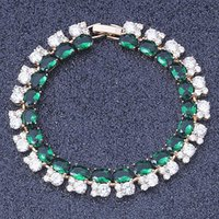 New Arrival !Top Quality Luxury Green & White Zircon Crystal Gold Colour Fashion jewelry Bracelets S090A