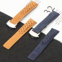 Banda de reloj de cuero genuino azul marrón azul marrón de 22 mm para la correa de reloj de Carrera para la pulsera de la pulsera de Mónaco Aquaracer Pulsera