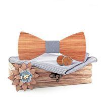 Шея галстуки Linbiway 3d Мужская деревянная галстука бабочка тарелка Запонки Броши набор Классический твердой древесины Bowtie костюм свадебные гравита Cravate1