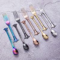 Colheres de estilo girafa de desenhos animados de aço inoxidável bolo de aço inoxidável garfo Sobremesa Sobremesa para casa ferramentas de Kithchen 120 pcs t1i3363