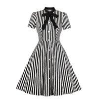 5Colour XS-4XL bouton de rayures noir rétro femme rétro robe de mini-robe casual jupe Robe imprimée Top 58589531341113