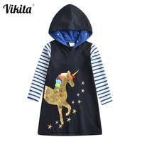 Vikita Com capuz para roupas de menina de algodão Princesa de Natal unicórnio crianças vestidos de crianças vestido de outono meninas