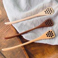Mel de madeira colheres de café escultura de madeira escorregando para fora Dipper Muddler Bee Honeystick Originalidade Dinnerware Cozinha Novo 2 06DC M2