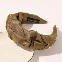 Twist trança larga enrugada vintage headband cor sólida mulheres headband moda cetim cabeça de cetim hairband turban acessórios de cabelo q sqchbq