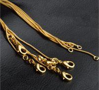 1 мм Золотая Змея Сеть Ожерелье для Женщин Ювелирные Изделия Роскошные DIY Ювелирные Изделия Ожерелья 16 18 20 22 24 26 28 30 дюймов
