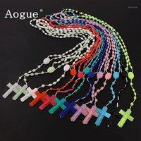 Ожерелья кулон 12 штук Фабрика многоцветных розариев Низкий в темных пластиковых розашках шарики из светящихся колье католицизм молитвея религиозный еврей