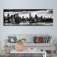 1 Panel Poster Art Paintings Canvas Poster Print Black White New Yorl City Gray Clouds Picture Home Decor Wall Art Photo